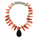 Orange Lava Stone, turquoise, hematite & Black Lava Stone pendant necklace