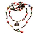 Polished gem stone double strand with enamel elephant - One of a kind
