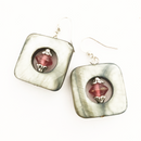 Square shell with pink glass earrings