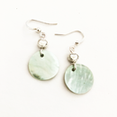 Blue Shell disc with heart earrings