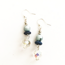 Blue beads with dangling crystal glass earrings