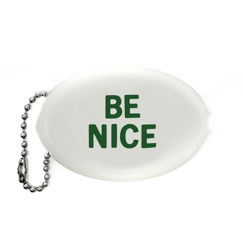 BE NICE WHITE RUBBER COIN PURSE WITH GREEN LETTERING