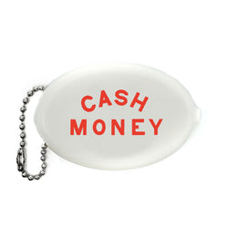 WHITE CASH MONEY COIN PURSE WITH RED LETTERING