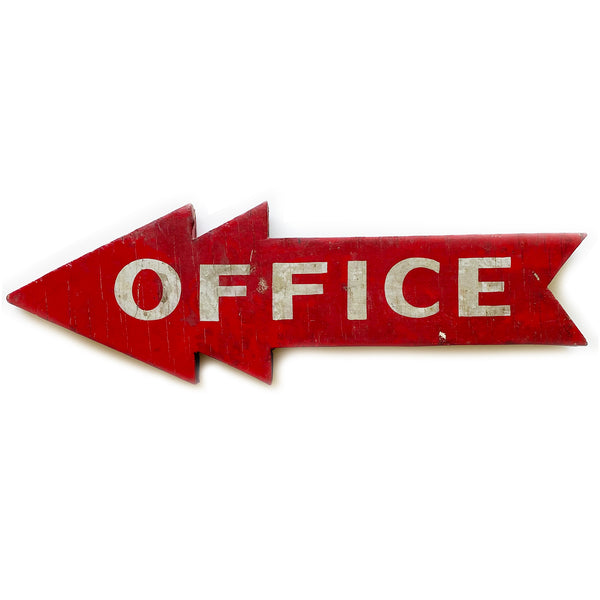 Vintage Hand-Painted Wood Office Directional Sign