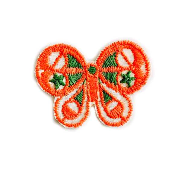 Vintage 70's Butterfly Embroidered Patch - Orange