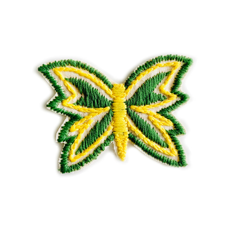 Vintage 70's Butterfly Embroidered Patch - Yellow Body