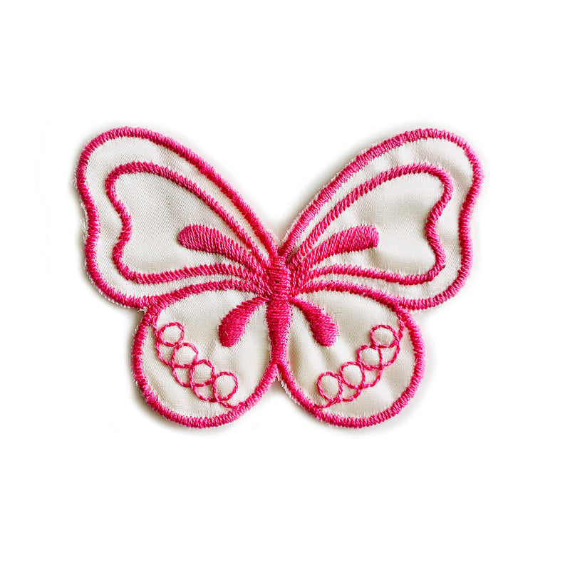 Vintage 70's Butterfly Embroidered Patch - Pink/White