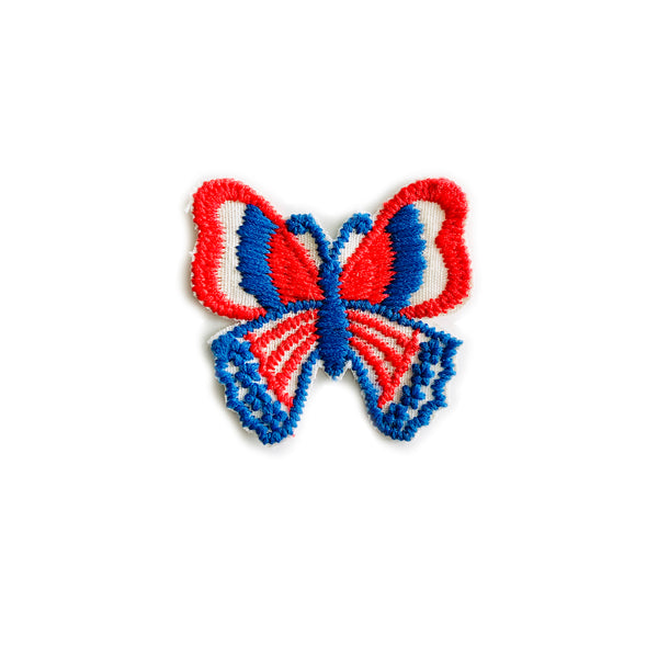 Vintage 70's Butterfly Patch - Red/White/Blue (Blue Body)