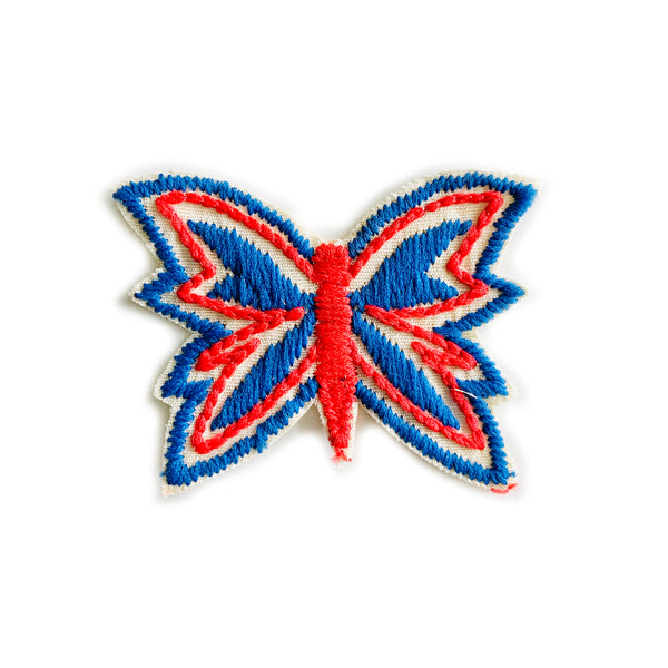 Vintage 70's Butterfly Embroidered Patch - Red/WhiteBlue (Red Body)