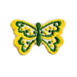 Vintage 70's Butterfly Embroidered Patch - Olive/Yellow