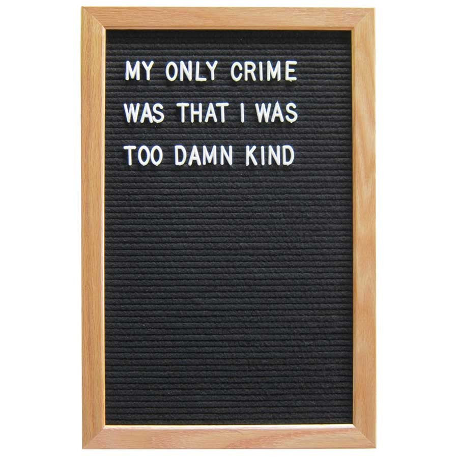12 x 18 wood frame letter board black
