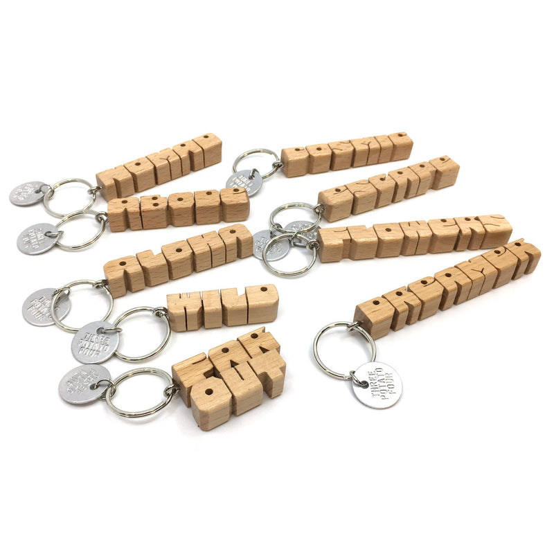 Wooden Keychain - Flowers