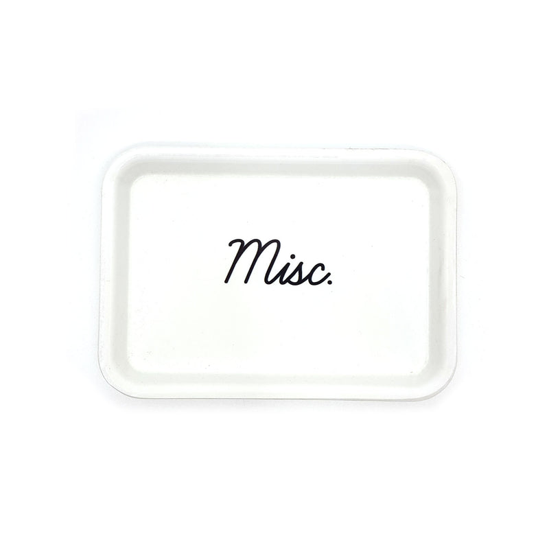 MISC. SMALL TRINKET TRAY, WHITE WITH BLACK LETTERS