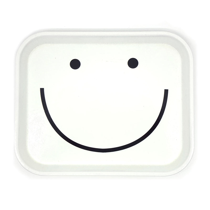 LARGE DECORATIVE TRINKET TRAY, WHITE WITH BLACK SMILEY FACE