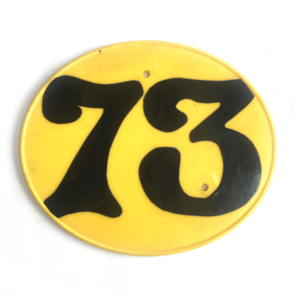 "1970's Motocross Number Plate ""73"""