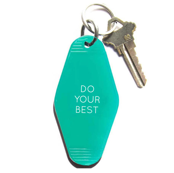 DO YOUR BEST VINTAGE MOTEL KEY TAG - TRANSLUCENT GREEN  WITH WHITE LETTERING