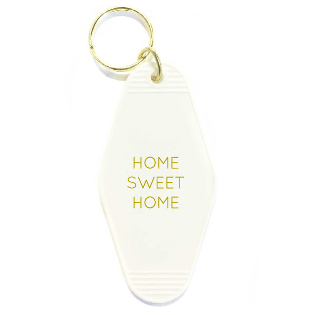 HOME SWEET HOME HOTEL VINTAGE KEY TAG - WHITE WITH GOLD LETTERING