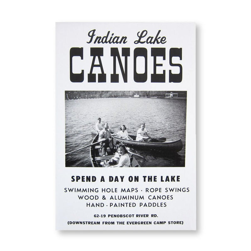 ROADSIDE SIGN POSTER - INDIAN LAKE CANOES