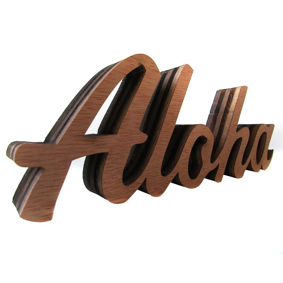 ALOHA - WOOD DESKTOP SHELFTOP SIGN