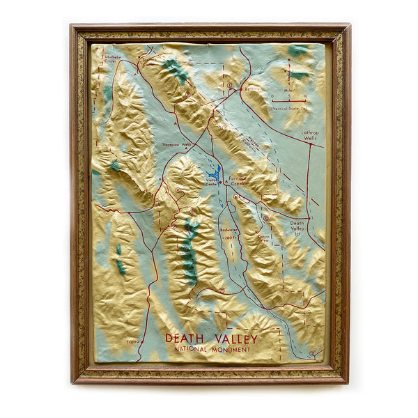 Vintage Death Valley, Calif Topographic Dimensional Framed Map