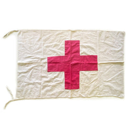 Vintage Red Cross First Aid Flag