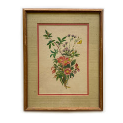 Vintage Framed Wildflower Painting