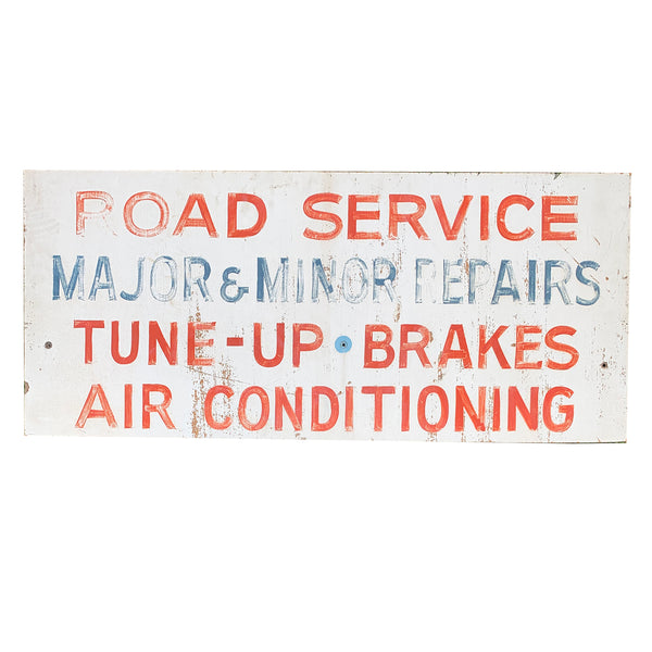 Vintage Hand-Painted Service Station Sign