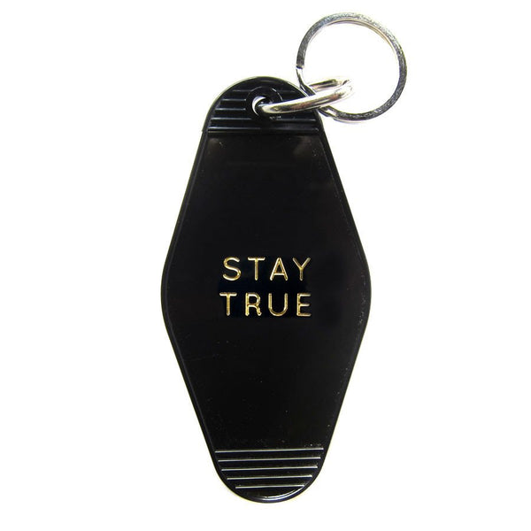 STAY TRUE HOTEL VINTAGE KEY TAG - BLACK WITH GOLD LETTERING