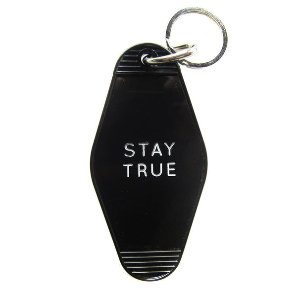 STAY TRUE HOTEL VINTAGE KEY TAG - BLACK WITH WHITE LETTERING
