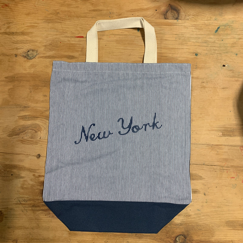 New York City Striped Tote Bag