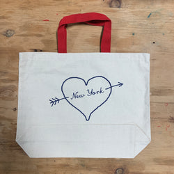 New York City Heart Script Tote Bag