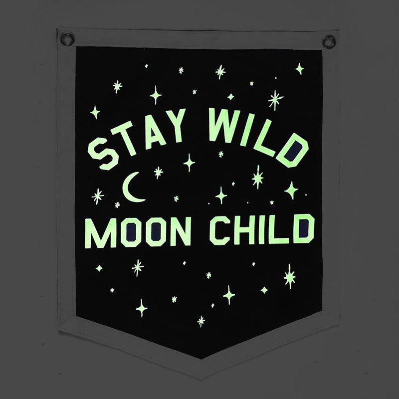 STAY WILD MOON CHILD - FELT BANNER (GLOW-IN-THE-DARK)