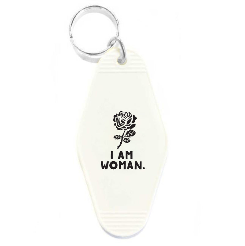 I AM WOMAN - WHITE KEY TAG