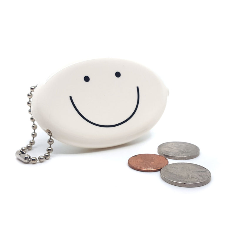 Coin Pouch - Happy Face (White)