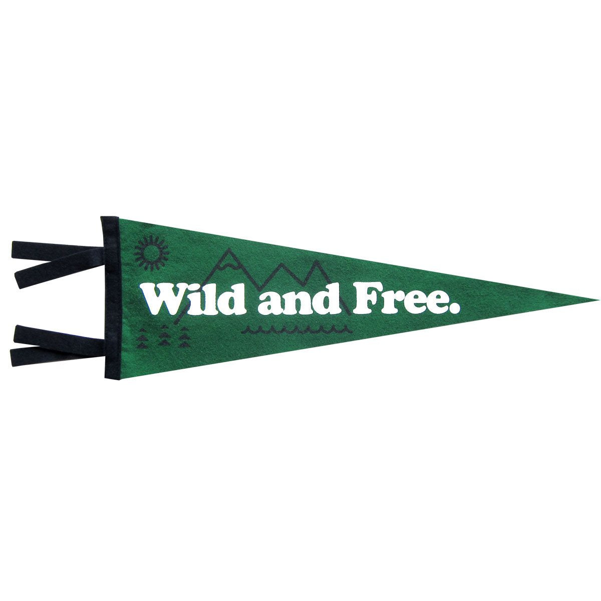 vintage style felt pennant banner flag wild and free