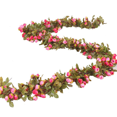 Silk Rose Artificial Flowers Vine Garland Fake Ivy Arch Hanging Decorative Wedding Home Wall Rattan Plants Leaves Decoration