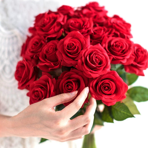 10 pcs lot red rose artificial flower real touch latex flowers faux silicone fake rose bouquet decoration for home wedding party