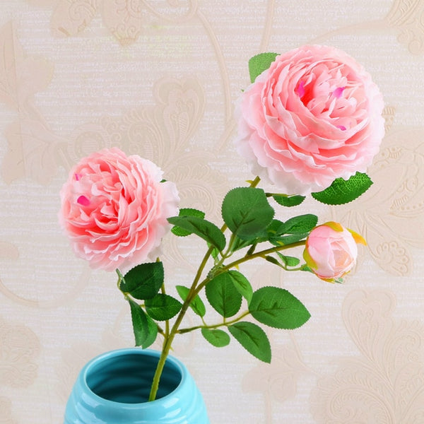 big rose pink silk peony artificial flowers branch home decor fake large flower head small bud wedding backdrop wall decoration