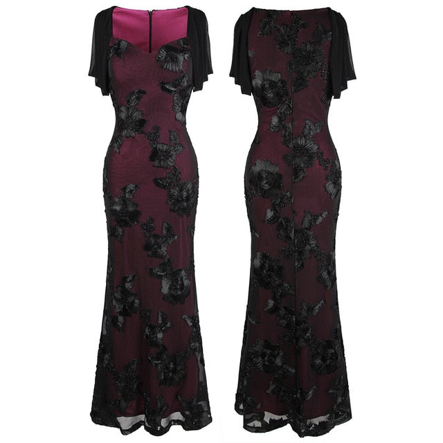 Floral Embroidery Cut Out Sleeve Mermaid Long Evening Dress Mother Gown Wine Red 461