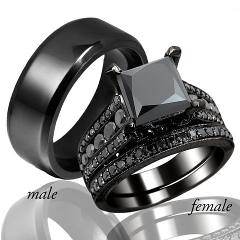 Carofeez Black Zircon Couples Ring