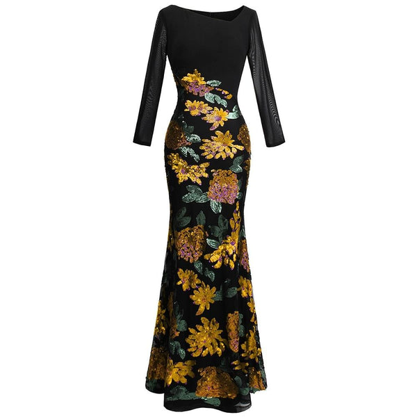 Women's Evening Dresses Long Sleeve Flowers Sequin V Neck Splicing Formal Party Gown Mother Gift Dress 396