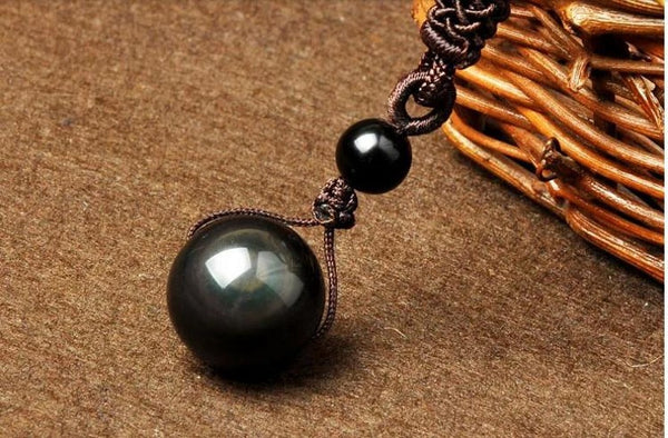Natural Obsidian Rainbow Eye Transfer Good Luck Bead Pendant