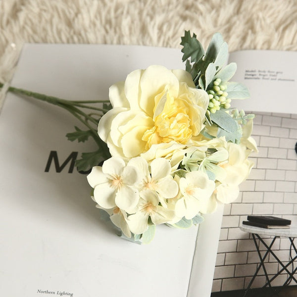 Artificial Flowers Hydrangea Silk Bouquet for Decoration Camellia Artificial Peony Rose Wedding Home DIY Decor Fake Flower White