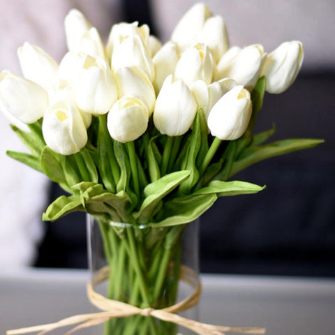 10Pcs Tulip Artificial Flower White PU Real Touch for Home Decoration Fake Tulips Latex Flowers Bouquet Wedding Garden Decor