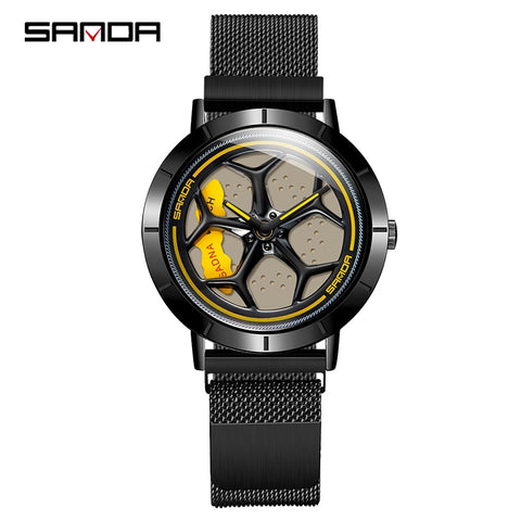 SANDA 2020 Hot Sell Trend Men Watch Fashion Rotating Dial Wheel Watches Waterproof Magnet Buckle Quartz Movement Gift Watch 1022