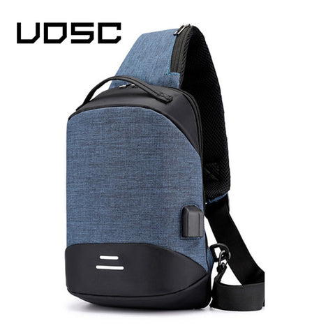 UOSC Chest Bag Men Crossbody Bag USB Anti-theft Buckle Design High Capacity Suit For Pad Water Shoulder Bag 2019 Trave Bag