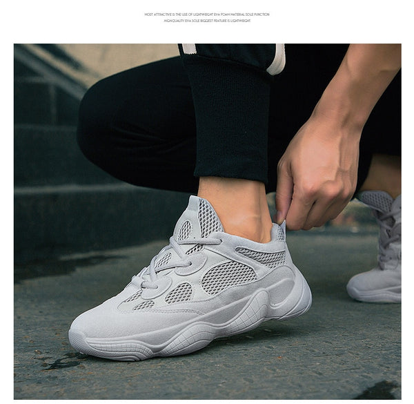 Men's sneakers Breathable Mesh Shoes Sneakers Spring New Korean Men's Shoes Fashion Old Shoes black/white