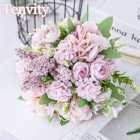Nordic Beautiful Artificial Flowers Bride Holding Wedding Bouquet Hybrid Silk Big Fake Flowers for Home Party Table Decoration