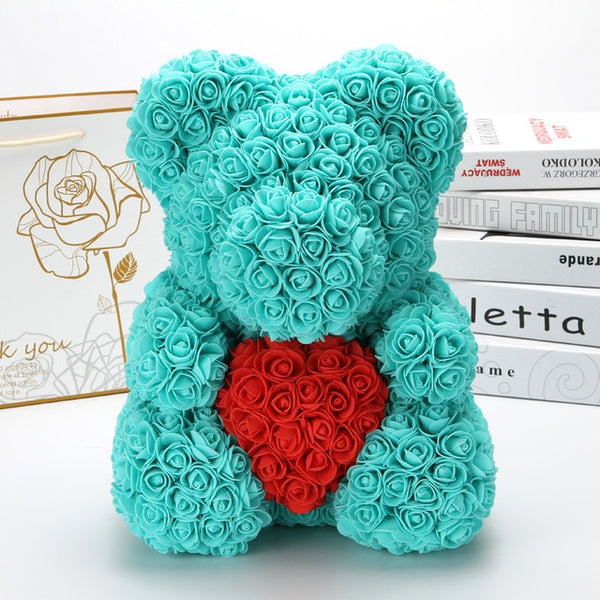 40cm Teddy Bear of Rose Artificial Flowers PE Rose for Women Valentines Wedding Christmas Gift Box home decoration accessories