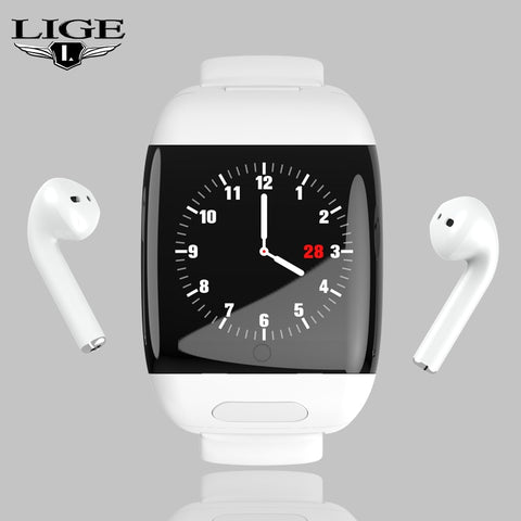 LIGE Sports Smart Watch With Bluetooth Wireless Earphone Smart Wristband Heart Rate Blood Pressure Monitor Smart Watch Men Women